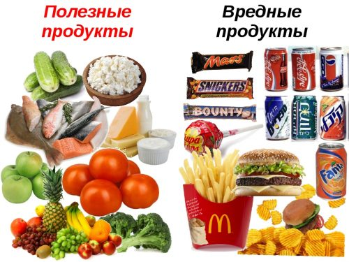 Useful and unhealthy foods