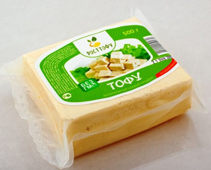 Tofu cheese in a package